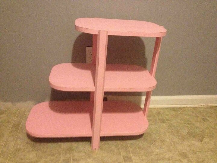 refinished table, chalk paint, painted furniture, Unique and cute little table Refinished with glamour pink chalk paint with light distressing