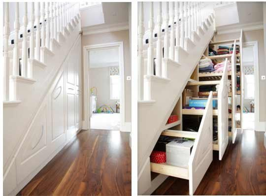 You can hid so much with clever under the stairs organizing space.