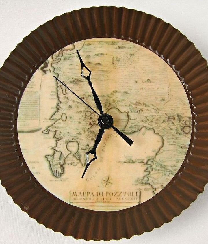 make your own wall clock with and antique map theme, crafts