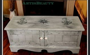 old beat up cedar chest turned into a nautical beauty with some paint and freezer, painted furniture