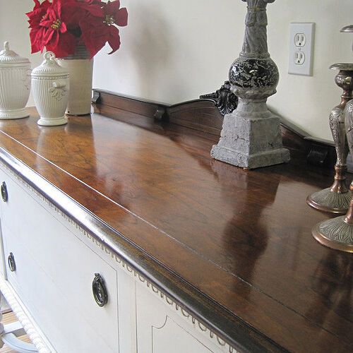 Top of Antique white sideboard.  Stripped, sanded and stained custom dark walnut and finished with wiping oil.
