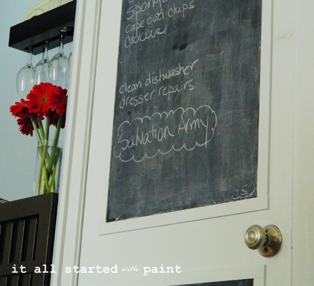 After: Chalkboard door close-up, made using foam core, chalkboard paint, and inexpensive trim