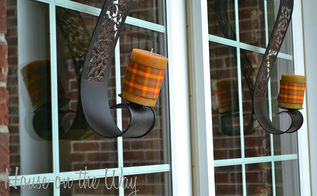 fall front porch decorations, doors, outdoor living, porches, seasonal holiday decor, Since my porch is covered I brought out some home decor items like these candle holders to add additional interest