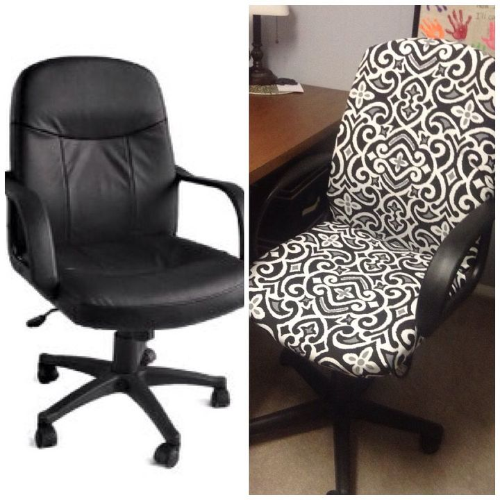 office chair goes from blah and boring to new and classy, home office, repurposing upcycling, reupholster, From blah to AWE
