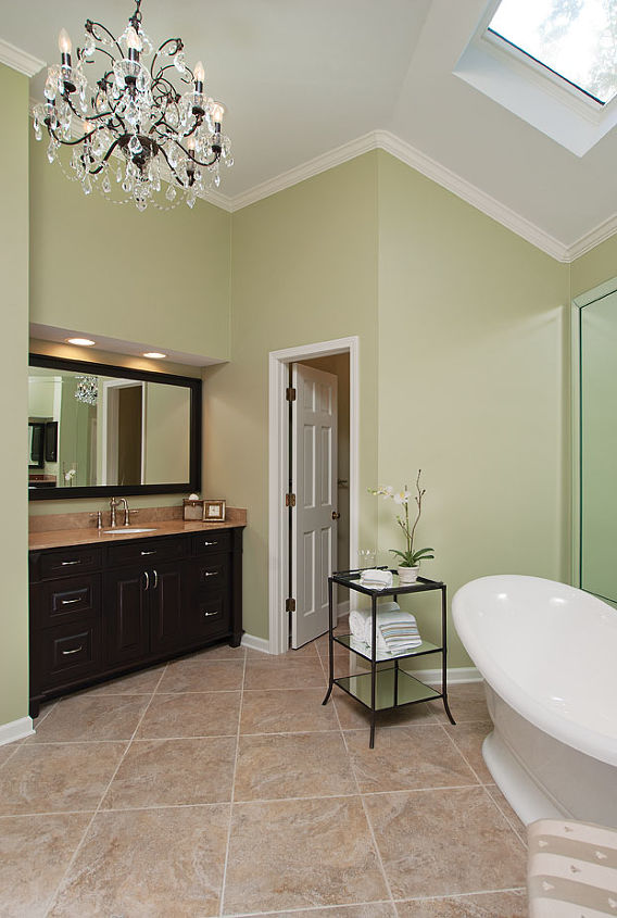 Here is look toward Her vanity and the toilet closet. The crystal chandelier is the perfect touch of elegance for this space.