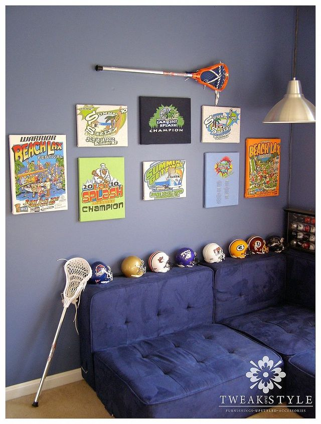 Instant wall art for your child from their own favorite t-shirts.