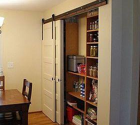 new pantry build with sliding barn style doors closet doors