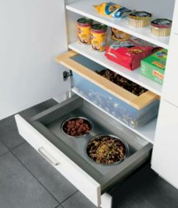Instead of toe-kick on this cabinet, a pull-out drawer with food bowls was designed & built. Great use of space! http://www.akatlanta.com/Atlanta-Kitchen-Renovations-By-AK