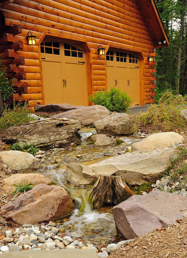 Pondless Stream and Waterfalls welcome guests to this beautiful mountain home.