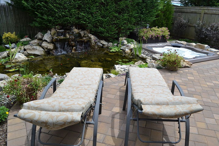 View from the lounge chairs of the pond, waterfall, and Bullfrog spa. http://www.deckandpatio.com/DP_Blog/