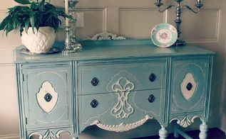 hand painted furniture, chalk paint, painted furniture, Antique buffet painted in Duck Egg Blue and Old White Chalk Paint