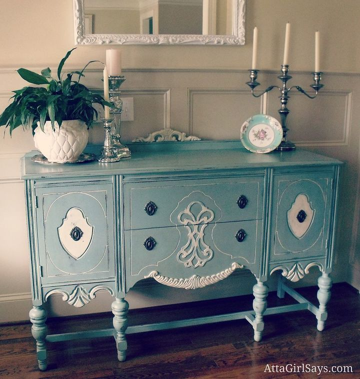 Antique buffet painted in Duck Egg Blue and Old White Chalk Paint