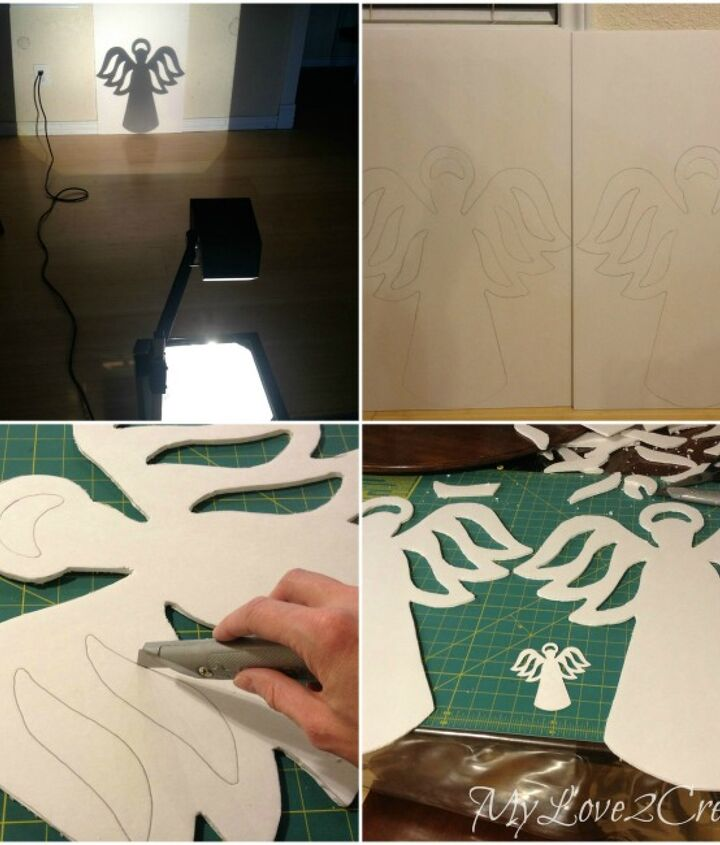 Place a small die cut angel onto projector and trace larger image onto foam core.  Cut out shape with exacto knife.