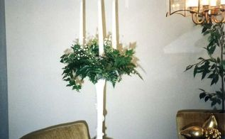 wedding candelabra made from 3 prong cone shape tomato cage, crafts, repurposing upcycling