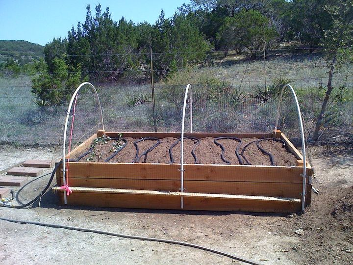 First bed's built.  (There's 2 of them 5' x 8'...  I've added smaller ones at each end... as seen below.