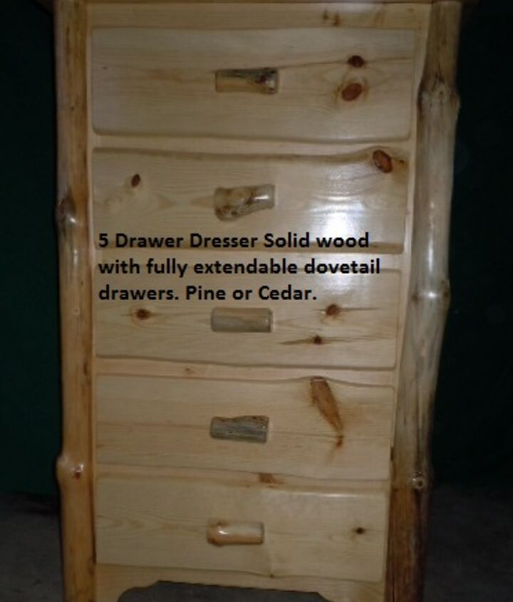 rustic dresser with log corners.  Solid wood with dovetail gliding drawers.