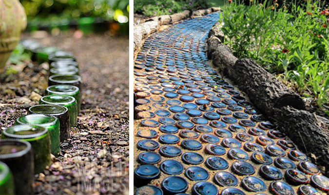 Line your path - or even create your path - with recycled glass bottles turned upside down.