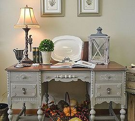 Painted Antique Desk With Lots Of Carved Details, Painted Furniture, A Full  View Of