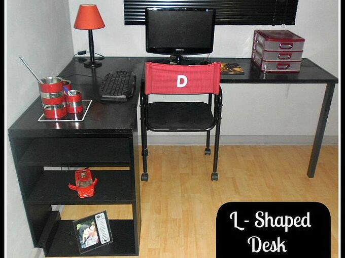 l shaped desk made from scratch, diy, painted furniture, The table tops were originally swing doors then shelves and now desk tops I took measurements from the tops and we built the bookshelf at the end We added a single leg to the other side for stability