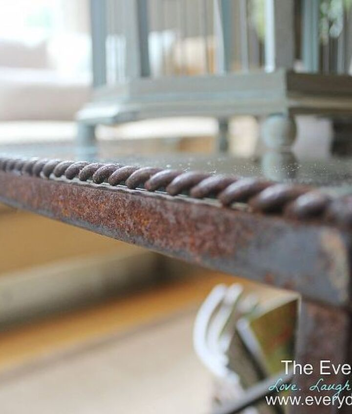 """This is the rusty """"shabby"""" table my husband doesn't like.  :)"""