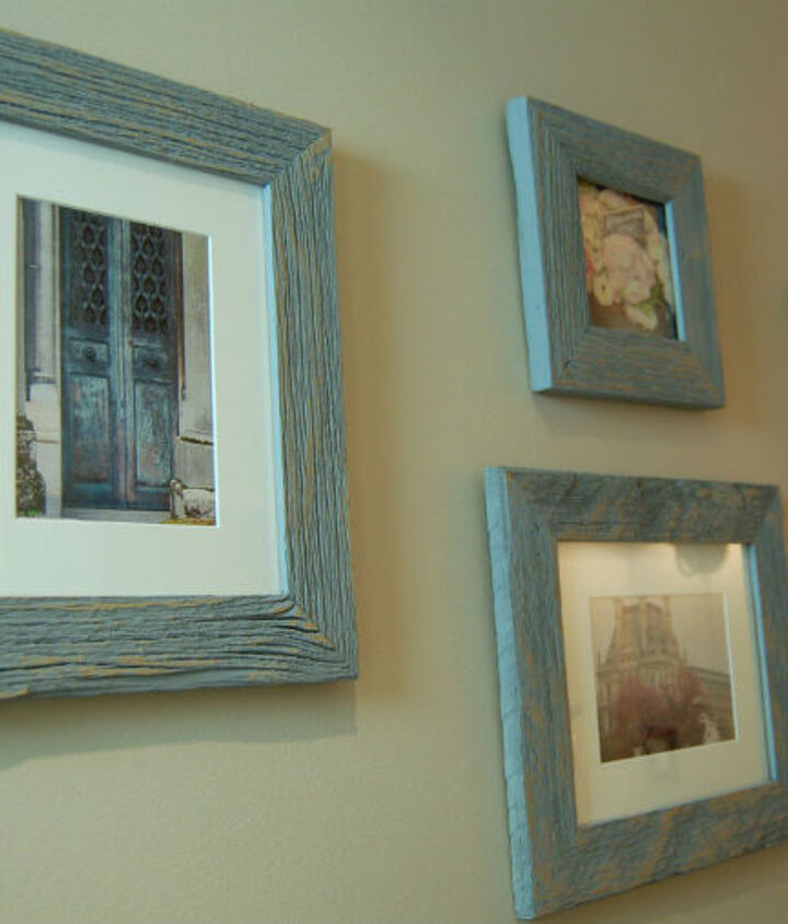 inexpensive art - framed travel photos in barn wood.