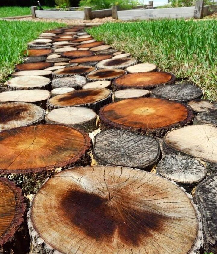 To read how we created this natural log pathway go to: http://sewwoodsy.com/2013/06/how-to-create-a-natural-log-pathway-video.html