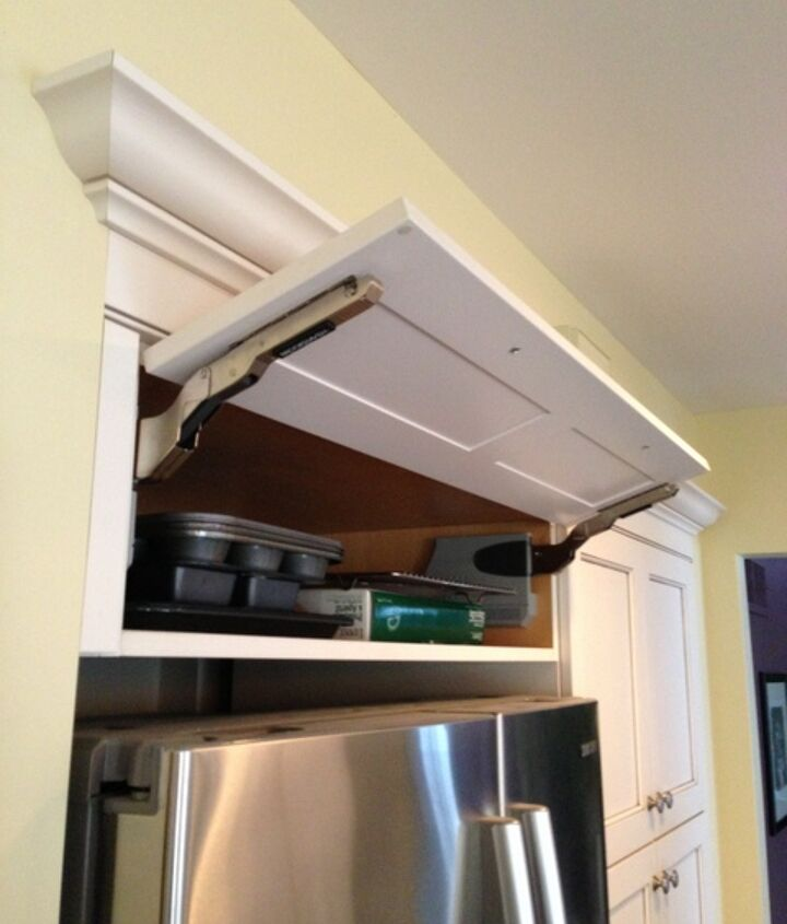 kitchen cabinet storage solutions, kitchen design, shelving ideas, storage ideas, This unique awning or uplift style cabinet hinge makes the tray shelf easily accessible