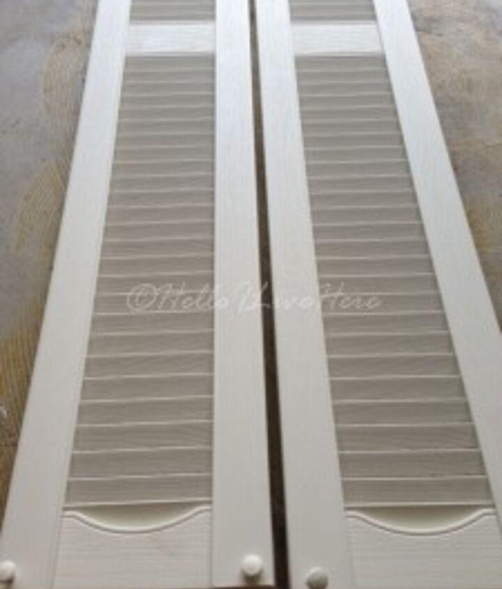 $5.00 plastic garage sale shutters for our DIY Shutter Towel Rack.
