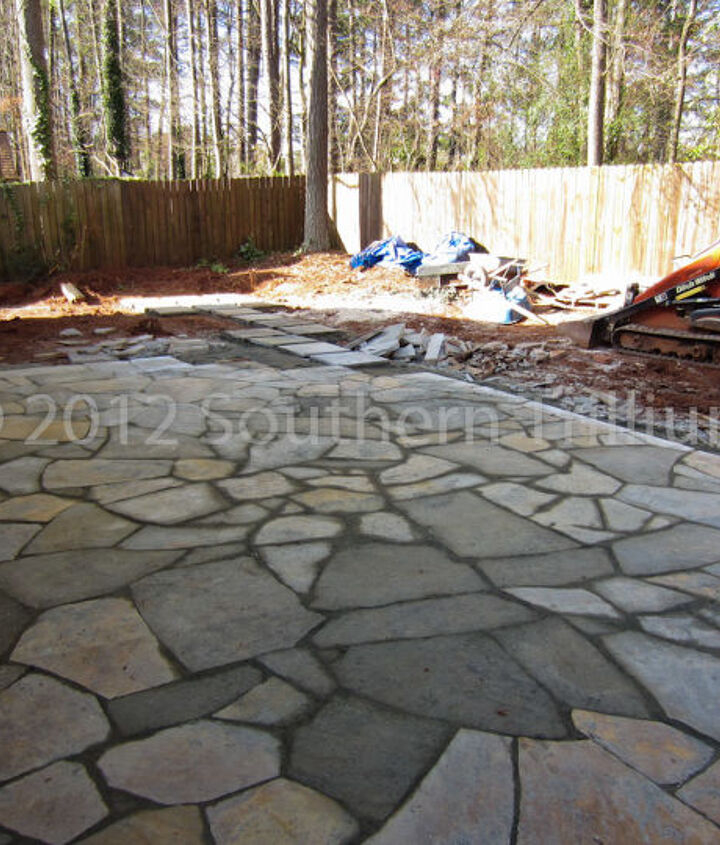A look after we finished the dry-laid flagstone patio.  We blended colors of flagstone to add more interest to the area.