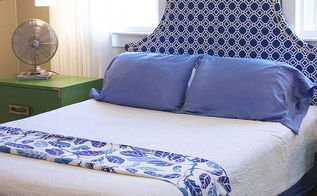 diy fabric headboard, bedroom ideas, crafts, home decor, I love blue and green together