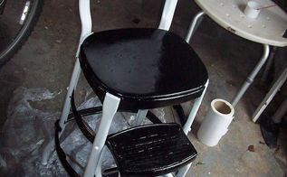 refinishing an old step stool high chair, painted furniture, Painted and ready for a couple clear coats