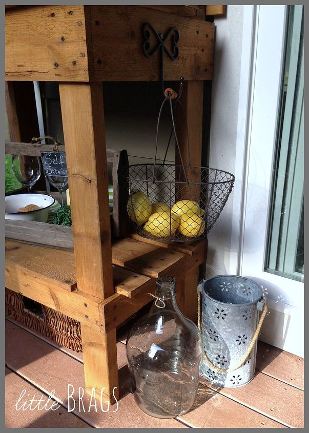potting table turned serving station, gardening, home decor, outdoor furniture, outdoor living, painted furniture, patio