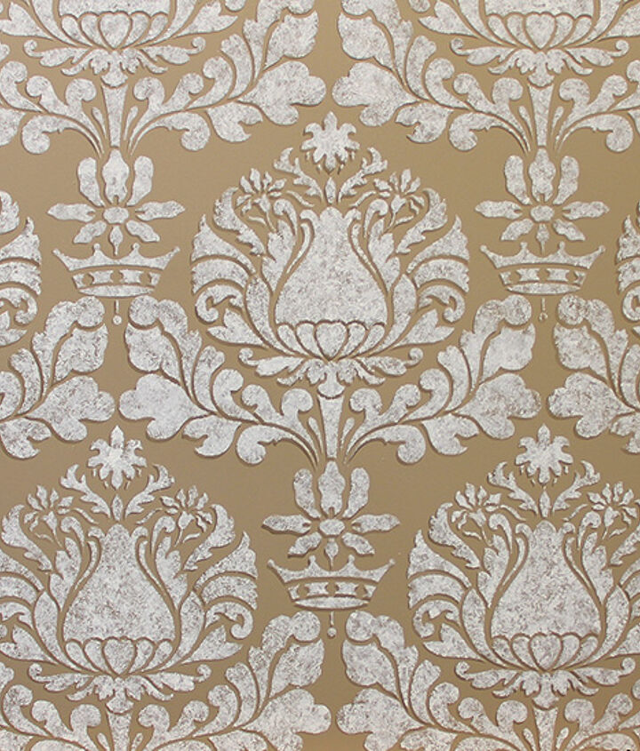 The completed Corsini Damask Stencil with the sponge texture and shadow effect http://www.royaldesignstudio.com/products/corsini-damask-stencil