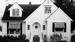 q 1952 cape cod, curb appeal, diy, painting, Black white awnings add visual interest A pop of color on the door would be fabulous