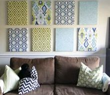 fabric covered canvas gallery wall, home decor, wall decor, Brightly patterned fabric add some much needed color and pattern to a large beige wall