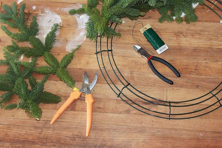 Cut your branches down so that they are all about the same size....8-10 inches....and wire the scraps onto a wire wreath form. Make sure they are all going in the same direction.