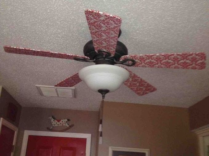 ceiling fan make over, crafts, decoupage, home decor, kitchen design, lighting, repurposing upcycling, After