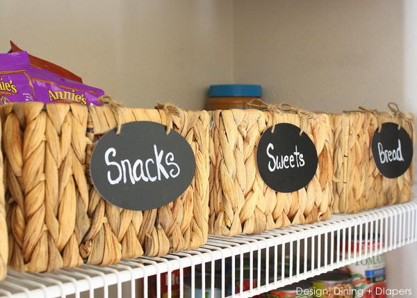Faux chalkboard labels for each basket.