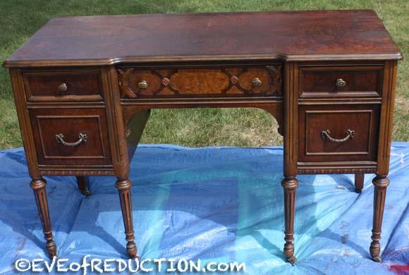 Before photo of antique desk