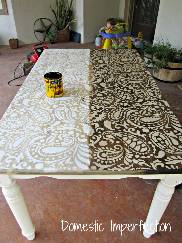 Paisley table - half before stain, half after