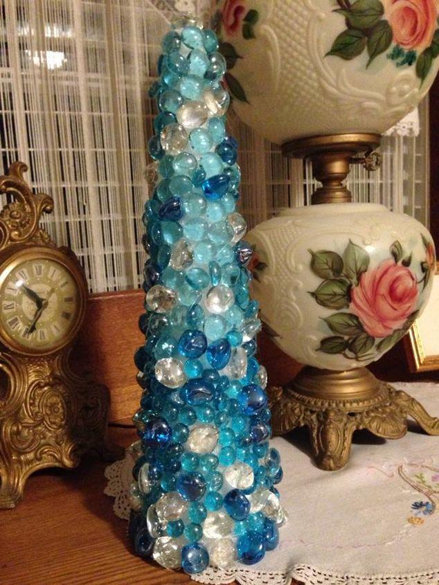 dollar store glass pebbles makes a christmas tree, christmas decorations, crafts, seasonal holiday decor, Glass stone Christmas Tree