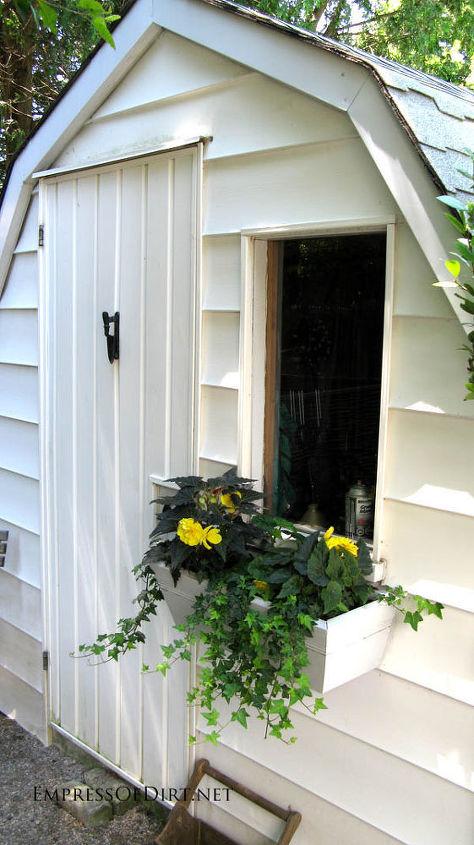 The classic window box makes a plain shed pop. http://www.empressofdirt.net/more-garden-container-ideas/