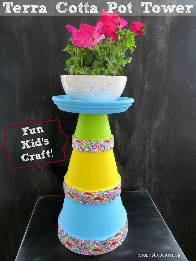 diy terra cotta pot tower, crafts, gardening, DIY Terra Cot Pot Tower I made this pretty Terra Cotta Pot Tower for Mother s Day
