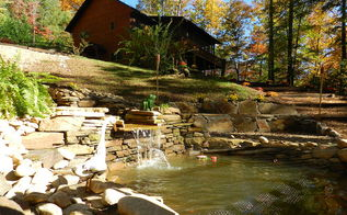 finishing the summer project just in time for fall, outdoor living, ponds water features, waterfall upward