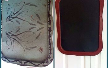 vintage metal t v tray repurposed into a magnetic chalk board, chalkboard paint, crafts, repurposing upcycling