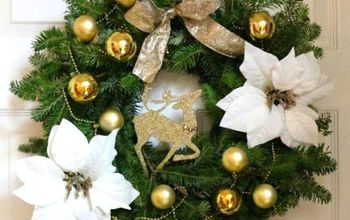 diy white and gold dollar tree wreath, christmas decorations, crafts, seasonal holiday decor, wreaths, I used the ornament garland to weave it through the wreath