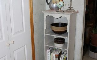 small house kitchen tweak vintage all the way, home decor, kitchen design, shabby chic, This sweet little vintage Shabby Chic bookcase now fills a narrow corner of my country kitchen and holds cookbooks and crockery
