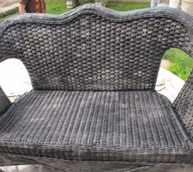 How To Paint Wicker Furniture, Painted Furniture, Spray Painted 3 Coats Of  Black Semi