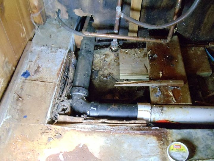 Under the water heater!