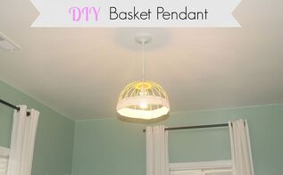 thrift store diy basket pendant light, lighting, repurposing upcycling
